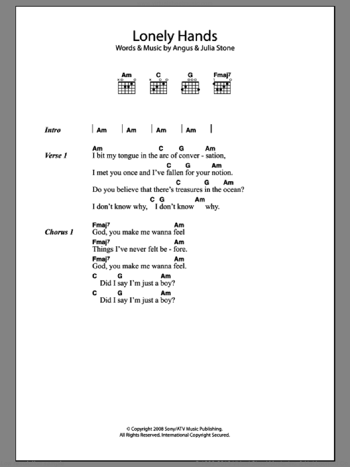 Lonely Hands sheet music for guitar (chords) by Julia Stone and Angus Stone, intermediate skill level