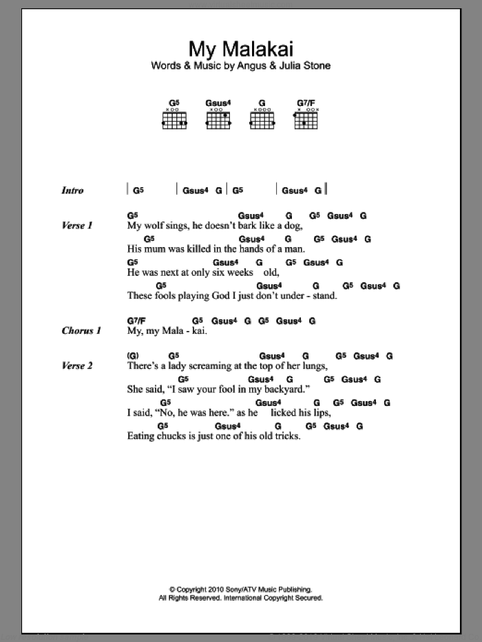 My Malakai sheet music for guitar (chords) by Angus Stone