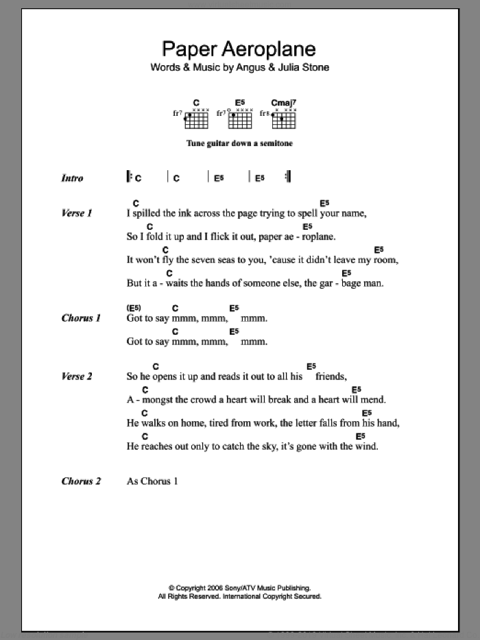 Paper Aeroplane sheet music for guitar (chords) by Julia Stone and Angus Stone, intermediate skill level
