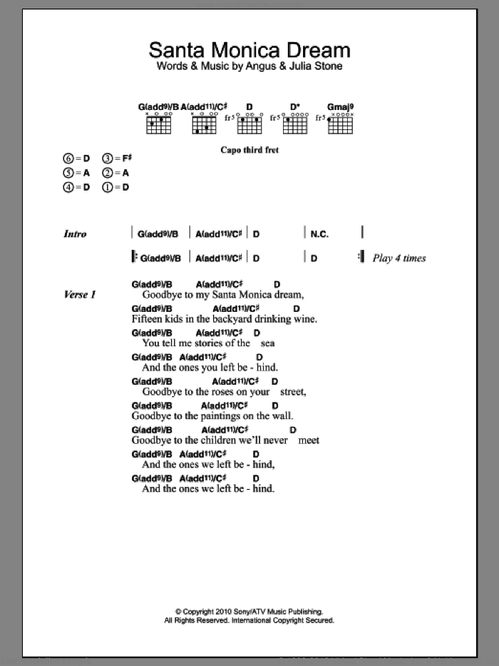 Santa Monica Dream sheet music for guitar (chords) by Julia Stone and Angus Stone, intermediate skill level