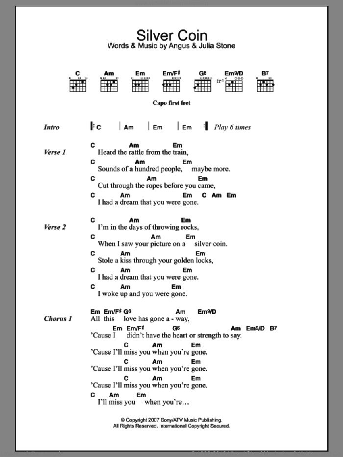 Silver Coin sheet music for guitar (chords) by Julia Stone and Angus Stone, intermediate skill level