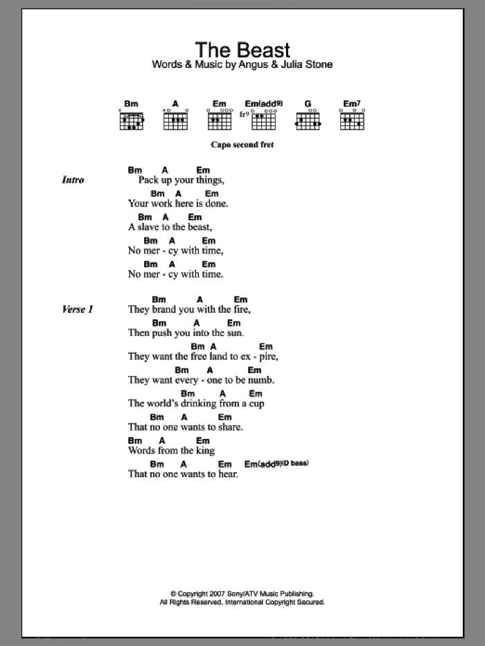 The Beast sheet music for guitar (chords) by Julia Stone and Angus Stone, intermediate guitar (chords). Score Image Preview.
