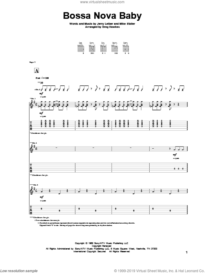 Bossa Nova Baby sheet music for guitar solo by Elvis Presley, Jerry Leiber and Mike Stoller. Score Image Preview.