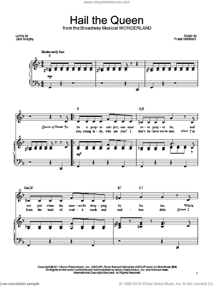 Hail The Queen sheet music for voice, piano or guitar by Frank Wildhorn, Wonderland (Musical) and Jack Murphy, intermediate skill level