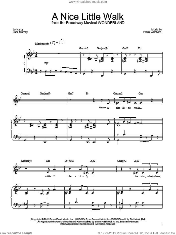 A Nice Little Walk sheet music for voice, piano or guitar by Jack Murphy and Frank Wildhorn. Score Image Preview.