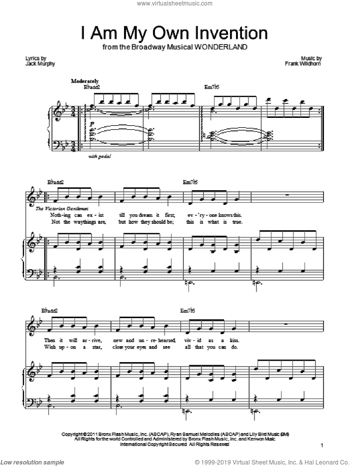 I Am My Own Invention sheet music for voice, piano or guitar by Frank Wildhorn, Wonderland (Musical) and Jack Murphy, intermediate skill level