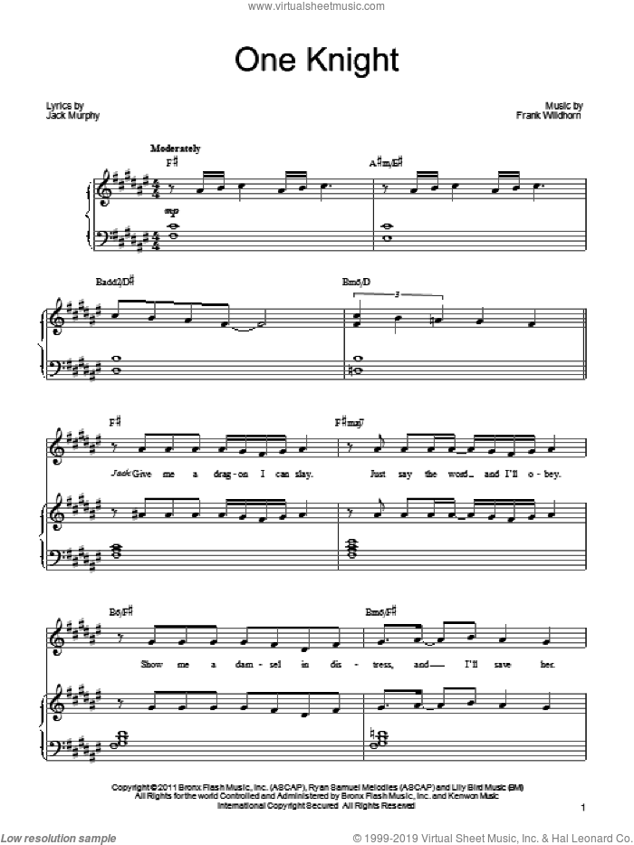 One Knight sheet music for voice, piano or guitar by Frank Wildhorn, Wonderland (Musical) and Jack Murphy, intermediate