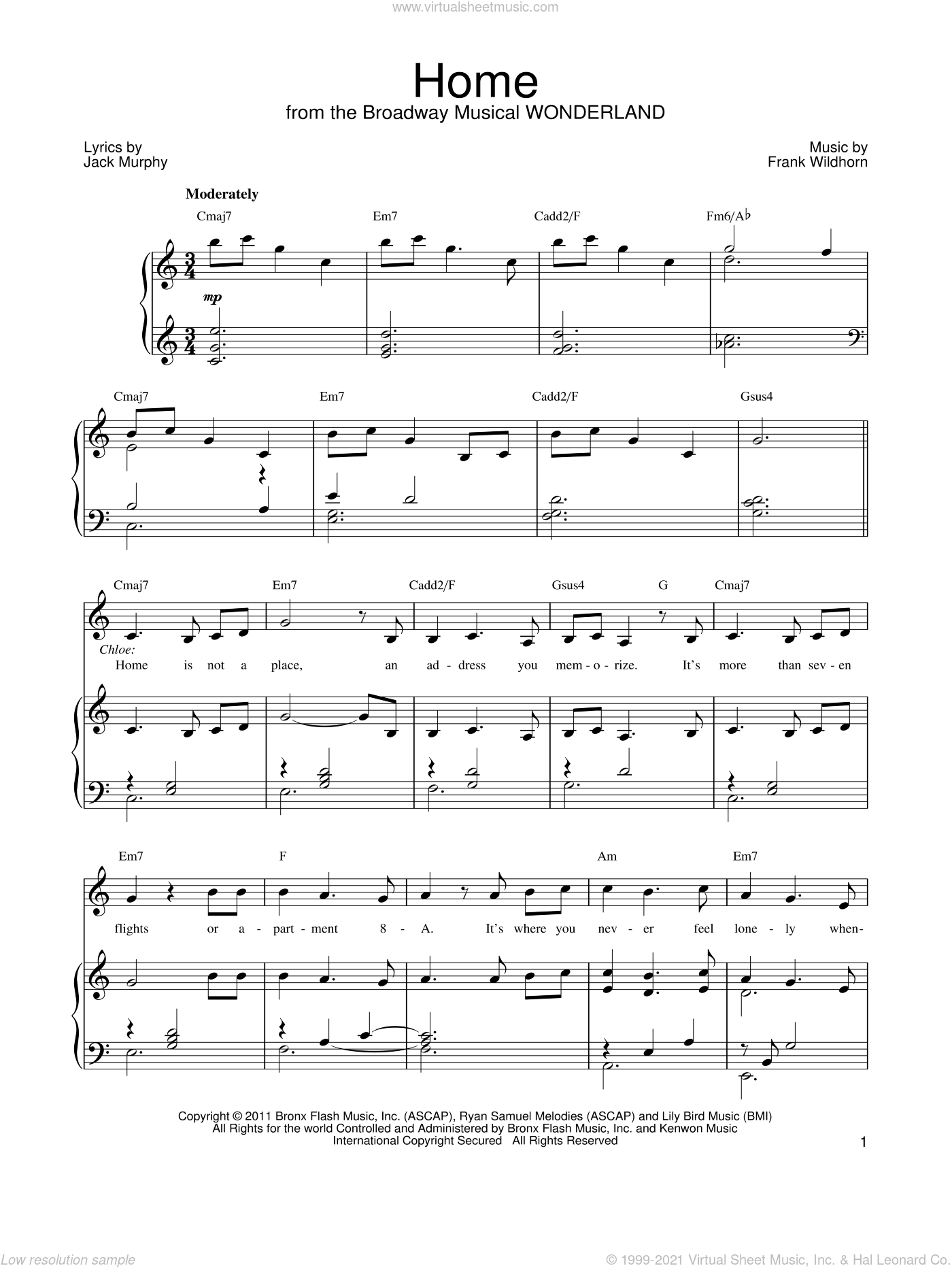 Home sheet music for voice, piano or guitar by Frank Wildhorn, Wonderland (Musical) and Jack Murphy, intermediate skill level