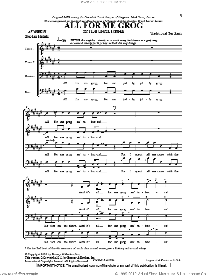 All For Me Grog sheet music for choir (tenor voice, bass voice, choir) by Stephen Hatfield. Score Image Preview.