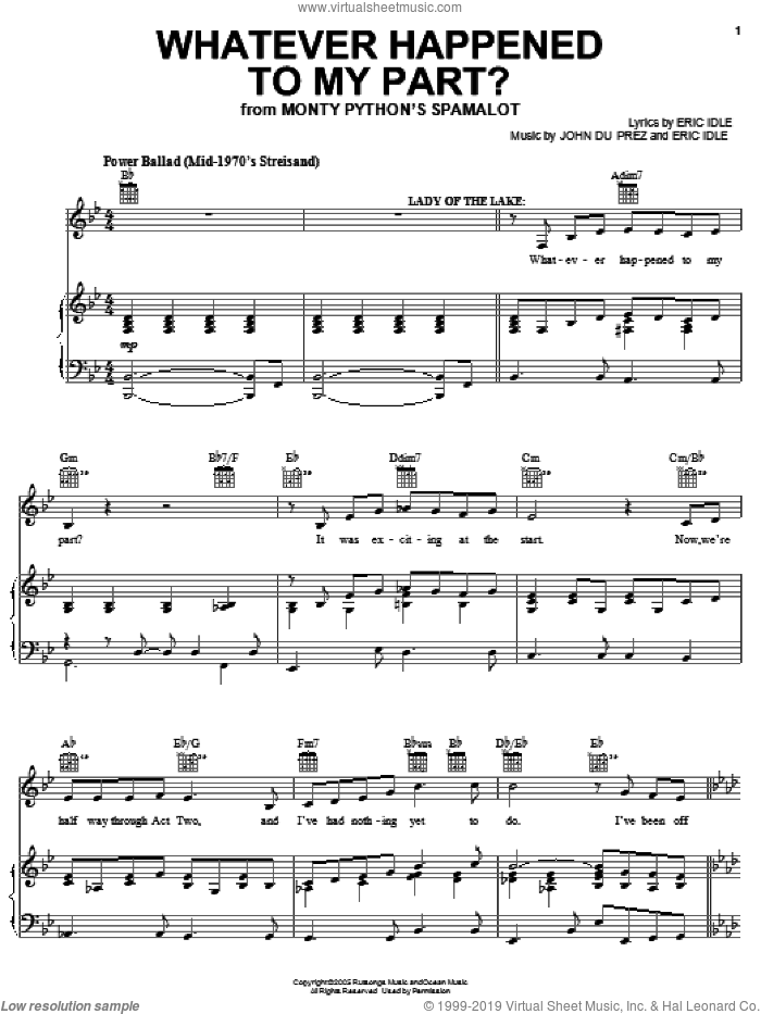 Whatever Happened To My Part? sheet music for voice, piano or guitar by Monty Python's Spamalot and Eric Idle, intermediate. Score Image Preview.