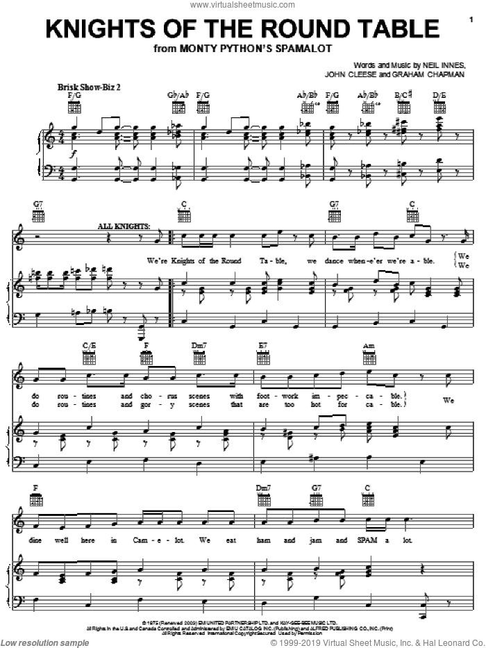 Knights Of The Round Table sheet music for voice, piano or guitar by Neil Innes