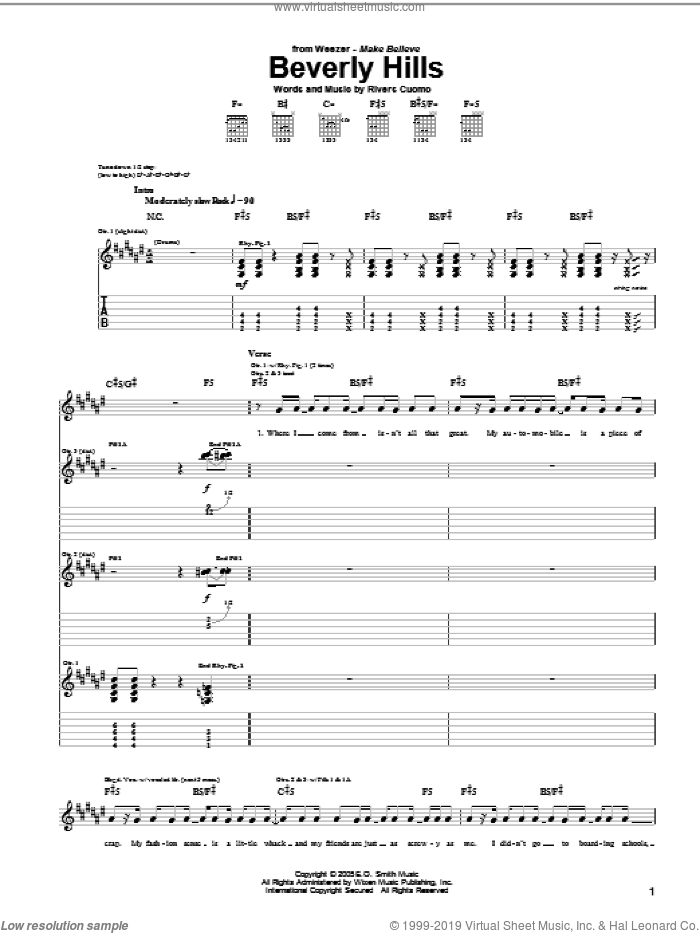 Beverly Hills sheet music for guitar (tablature) by Rivers Cuomo and Weezer. Score Image Preview.