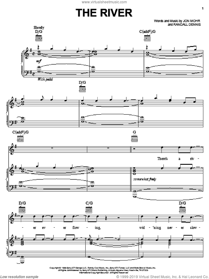 The River sheet music for voice, piano or guitar by Steve Green and Jon Mohr, intermediate. Score Image Preview.