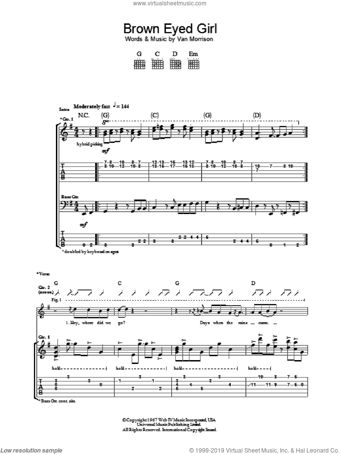 Brown Eyed Girl sheet music for guitar (tablature) by Van Morrison, intermediate
