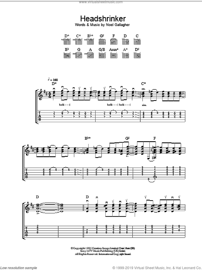 Headshrinker sheet music for guitar (tablature) by Oasis and Noel Gallagher. Score Image Preview.