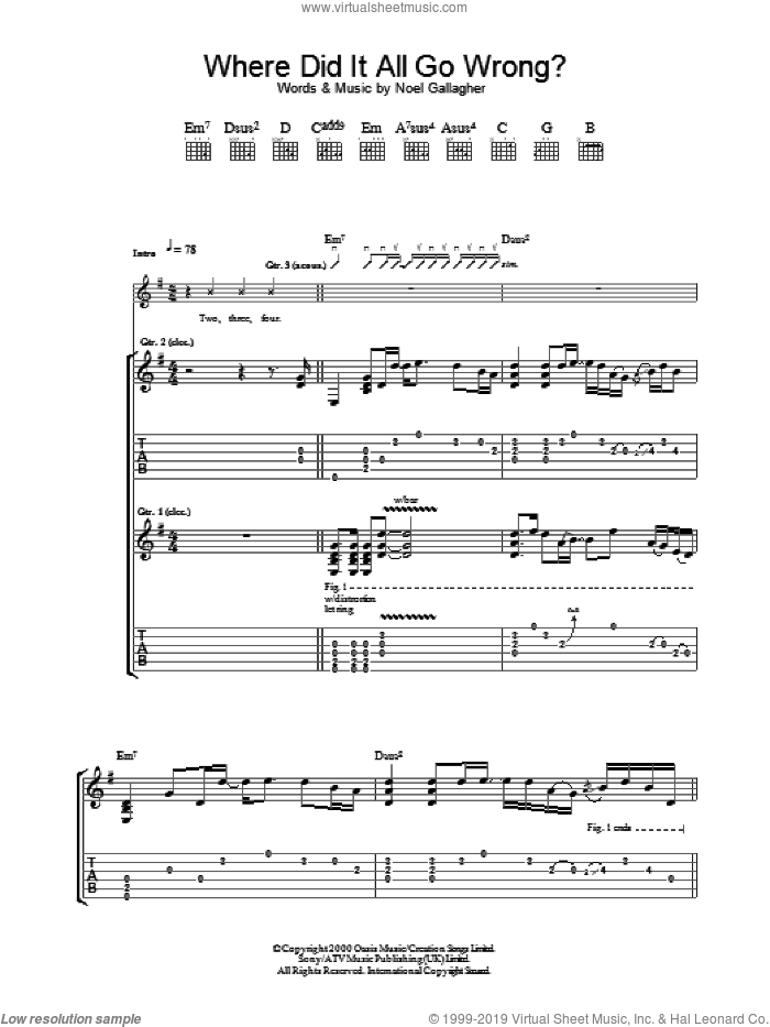 Where Did It All Go Wrong? sheet music for guitar (tablature) by Oasis and Noel Gallagher, intermediate skill level