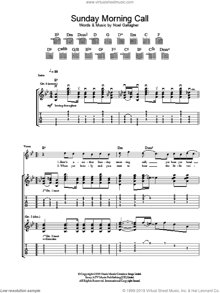 Sunday Morning Call sheet music for guitar (tablature) by Oasis and Noel Gallagher, intermediate. Score Image Preview.