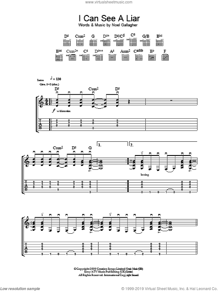 I Can See A Liar sheet music for guitar (tablature) by Oasis and Noel Gallagher, intermediate. Score Image Preview.