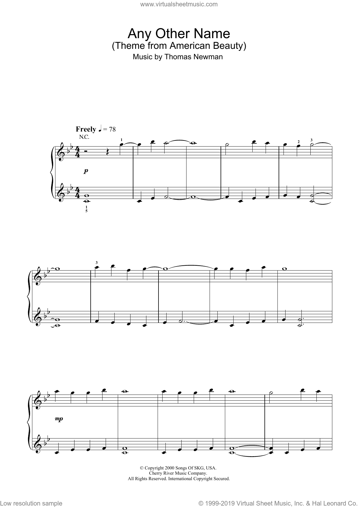 Any Other Name (theme from American Beauty) sheet music for voice, piano or guitar by Thomas Newman