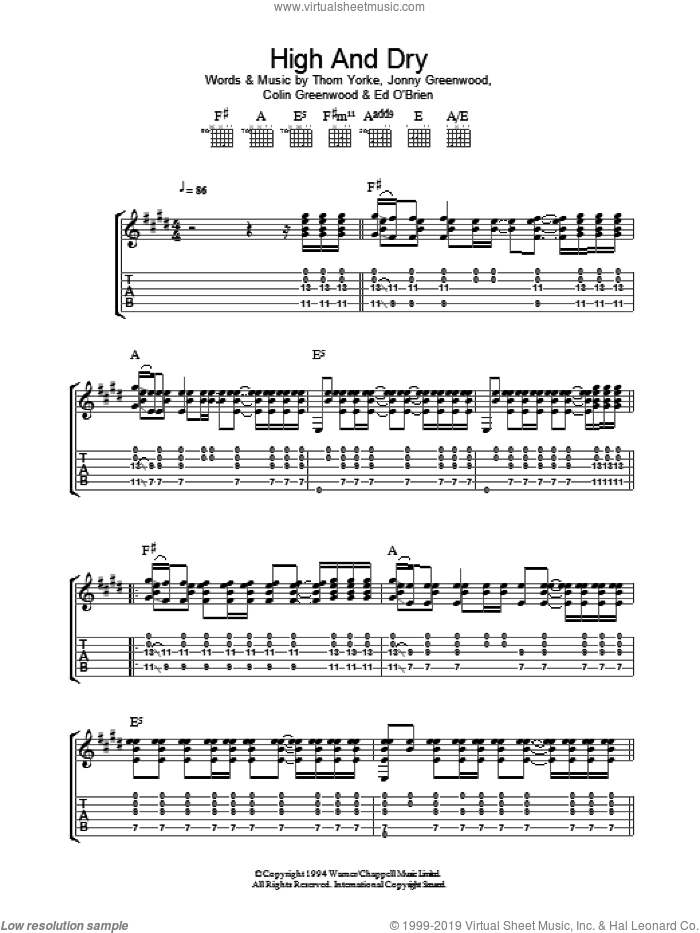 High And Dry sheet music for guitar (tablature) by Thom Yorke, Radiohead and Colin Greenwood. Score Image Preview.