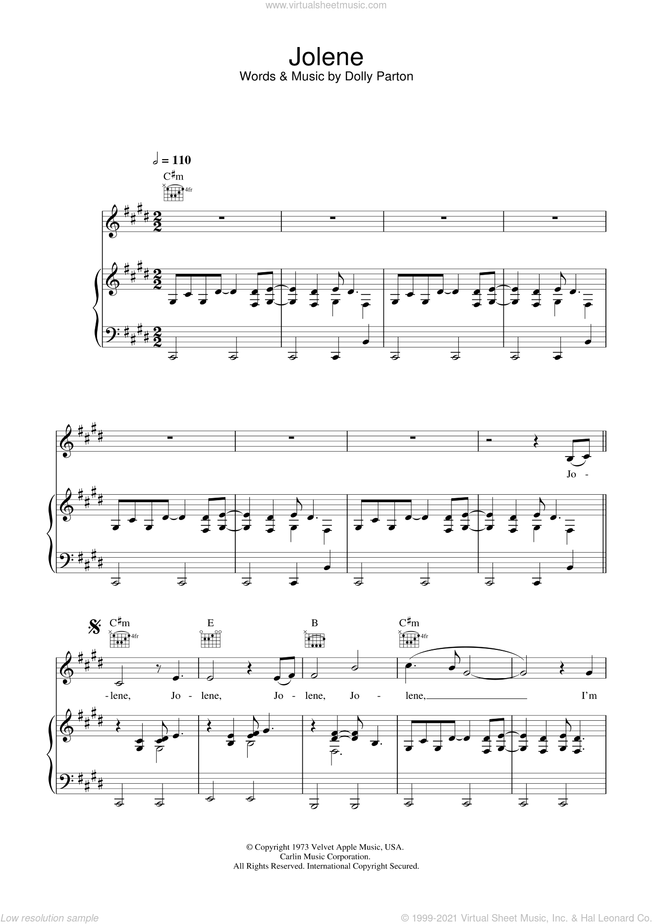 Jolene sheet music for voice, piano or guitar by Dolly Parton, intermediate voice, piano or guitar. Score Image Preview.