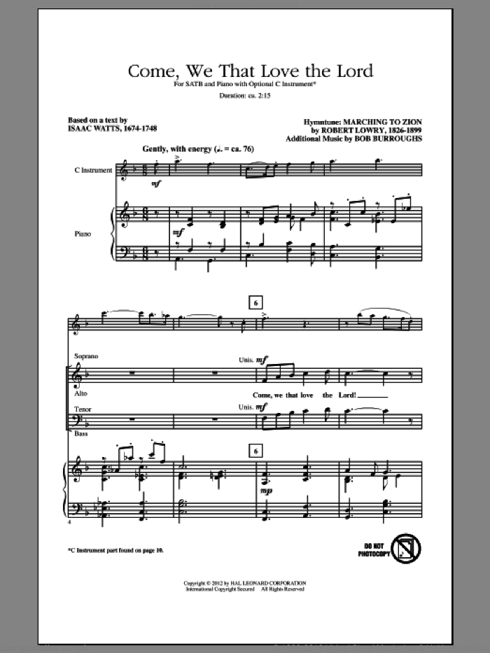 Come, We That Love The Lord sheet music for choir (SATB) by Aaron Williams, Bob Burroughs, Isaac Watts and Robert Lowry