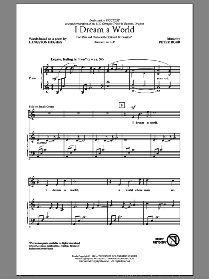 I Dream A World sheet music for choir (soprano voice, alto voice, choir) by Peter Robb and Langston Hughes. Score Image Preview.
