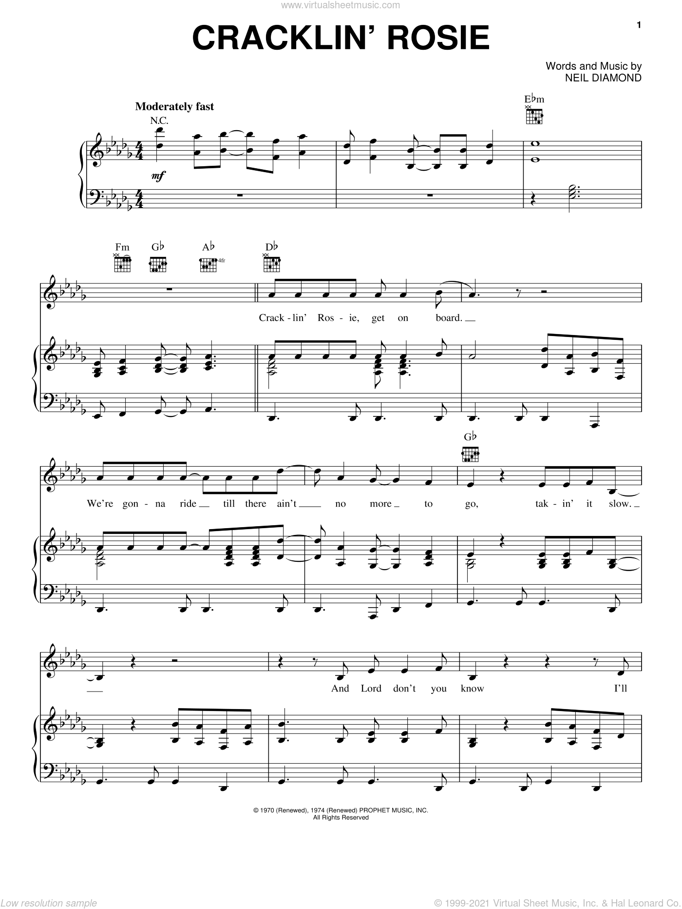 Cracklin' Rosie sheet music for voice, piano or guitar by Neil Diamond, intermediate skill level