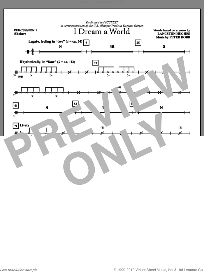 I Dream A World (complete set of parts) sheet music for orchestra/band (Percussion) by Peter Robb and Langston Hughes, intermediate skill level
