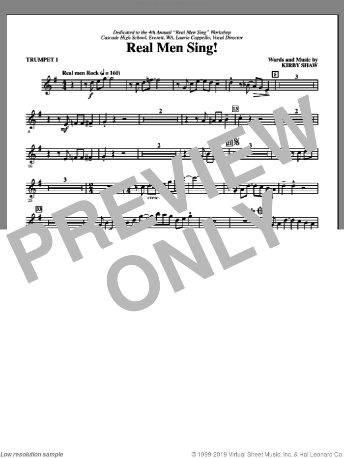 Real Men Sing! (complete set of parts) sheet music for orchestra/band by Kirby Shaw, intermediate skill level