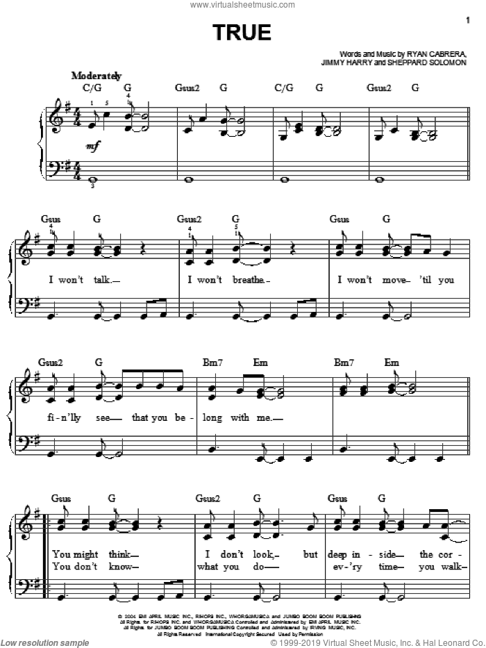 True sheet music for piano solo by Ryan Cabrera, Jimmy Harry and Sheppard Solomon, easy skill level
