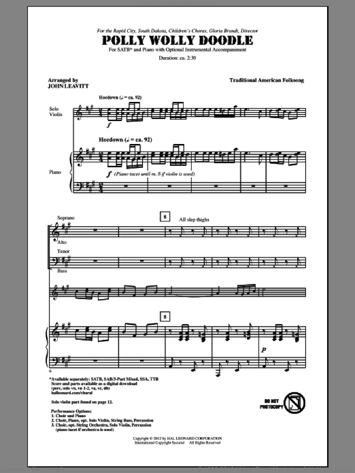 Polly Wolly Doodle sheet music for choir and piano (SATB) by John Leavitt