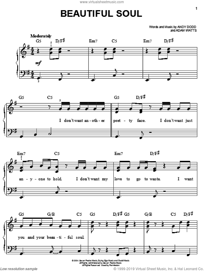 Beautiful Soul sheet music for piano solo by Jesse McCartney, Adam Watts and Andy Dodd, easy skill level