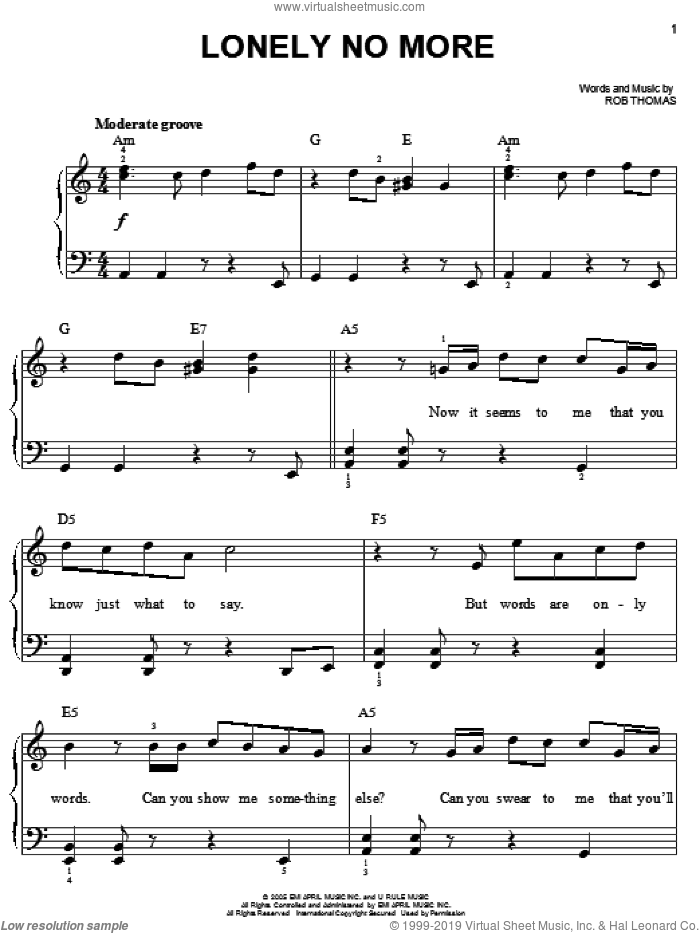 Lonely No More sheet music for piano solo by Rob Thomas, easy skill level