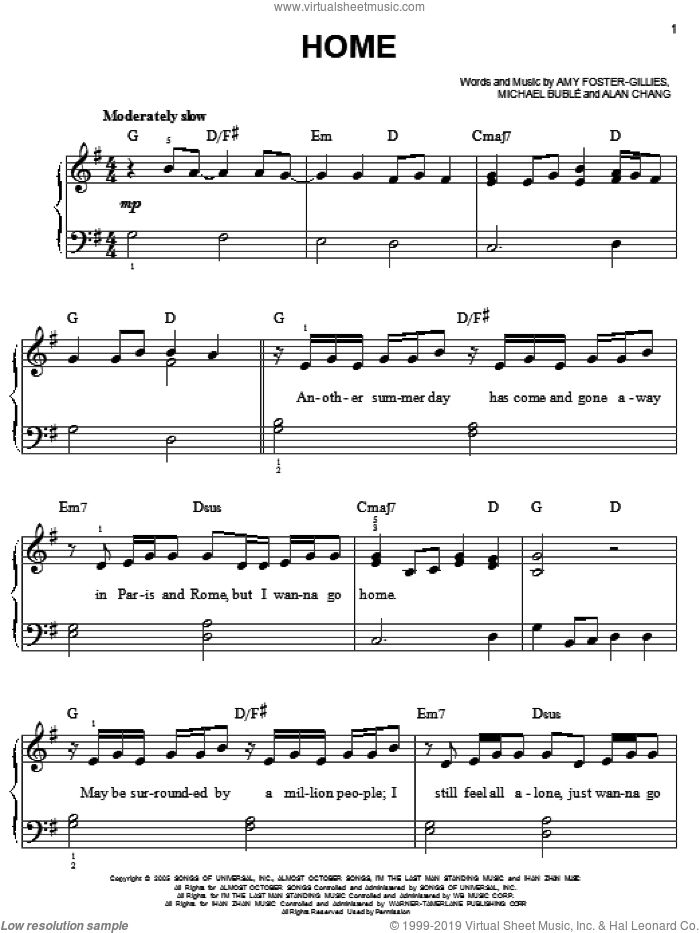 Home sheet music for piano solo by Michael Buble, Alan Chang and Amy Foster-Gillies, easy skill level