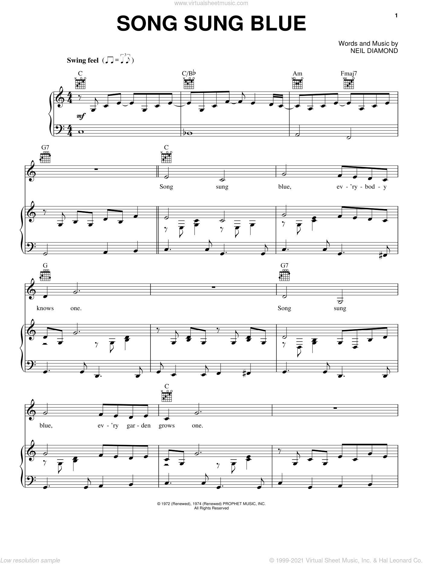 Song Sung Blue sheet music for voice, piano or guitar by Neil Diamond, intermediate. Score Image Preview.