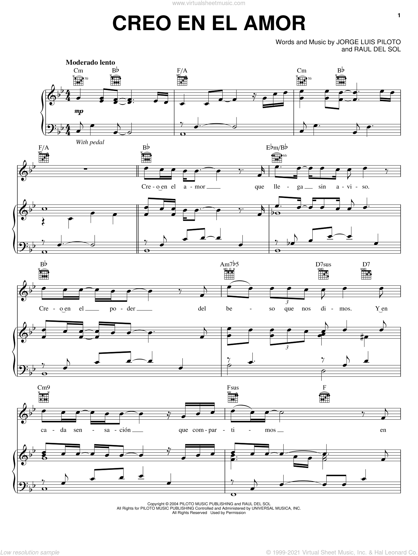 Creo En El Amor sheet music for voice, piano or guitar by Raul del Sol and Jorge Luis Piloto. Score Image Preview.