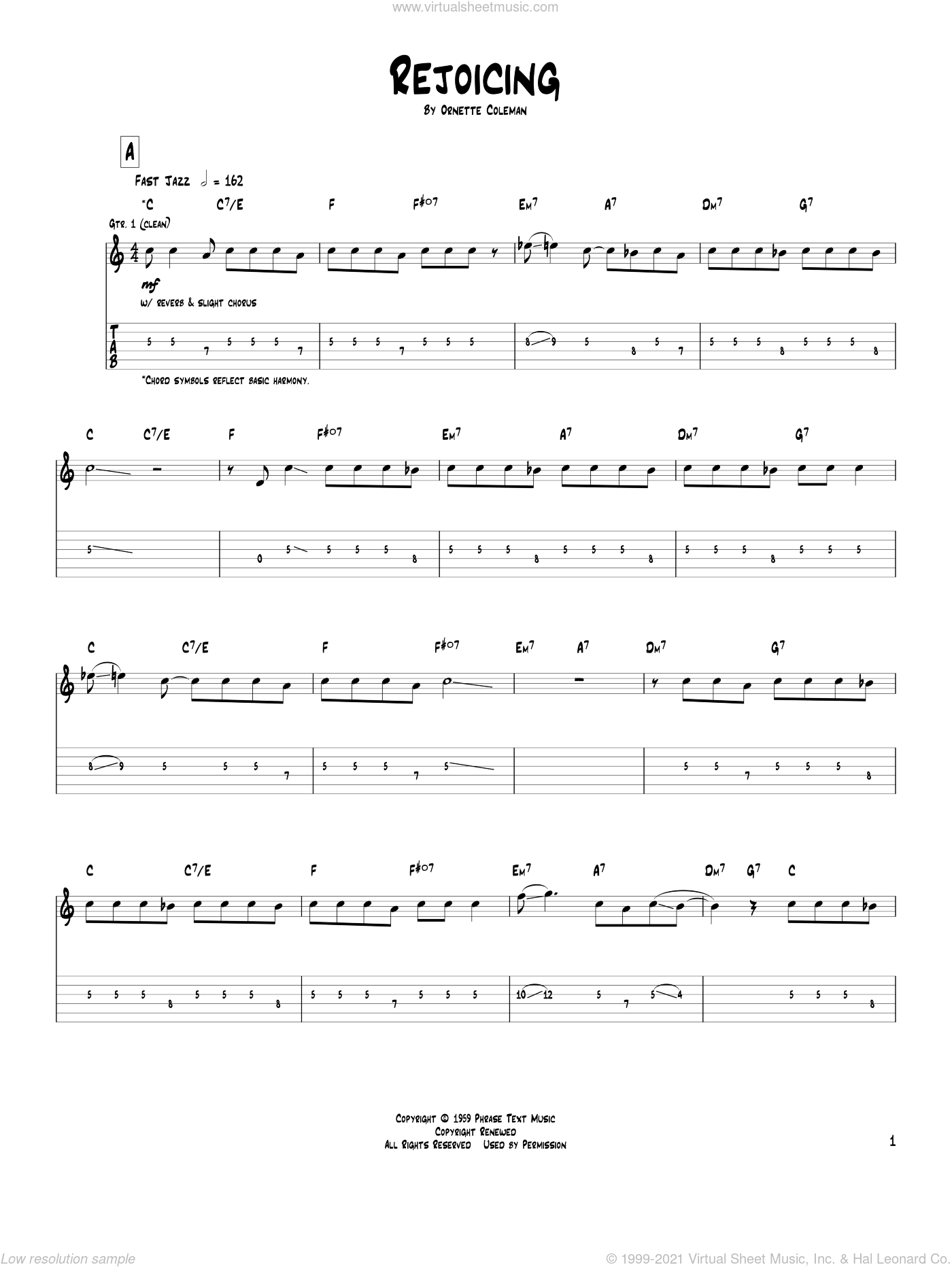 Rejoicing sheet music for guitar (tablature) by Pat Metheny and Ornette Coleman, intermediate skill level