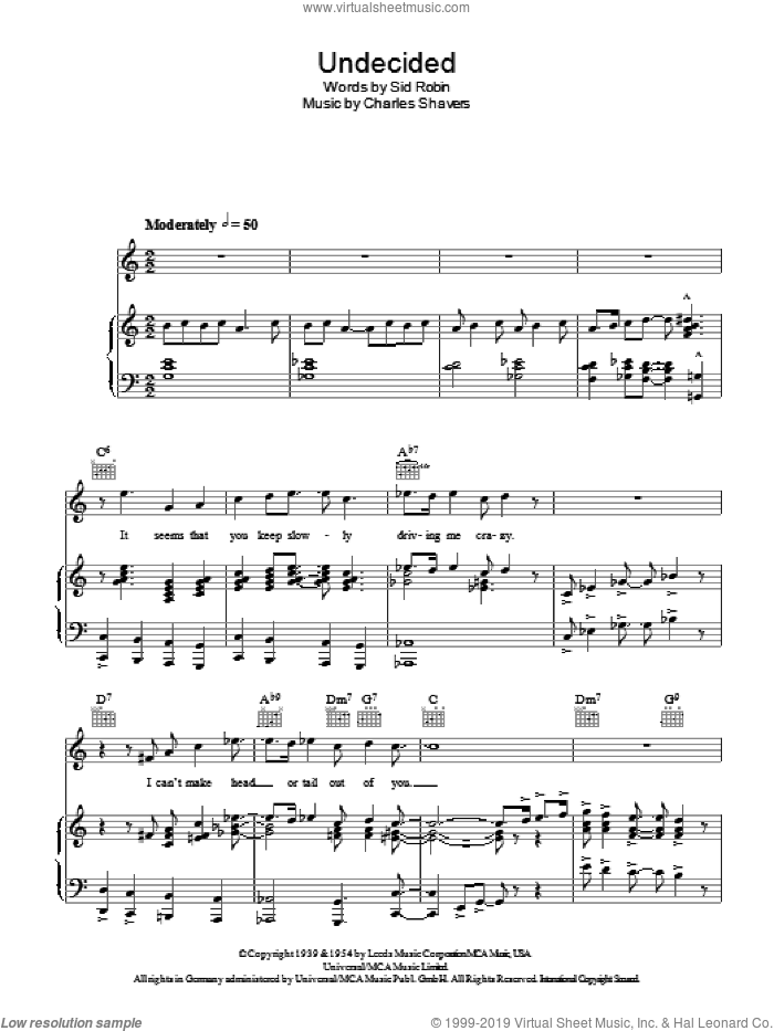 Undecided sheet music for voice, piano or guitar by Ella Fitzgerald, Ella  Fitzgerald, Charles Shavers and Sid Robin, intermediate skill level