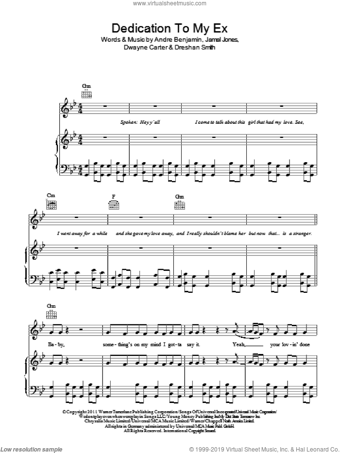 Dedication To My Ex (Miss That) sheet music for voice, piano or guitar by Lloyd, intermediate. Score Image Preview.