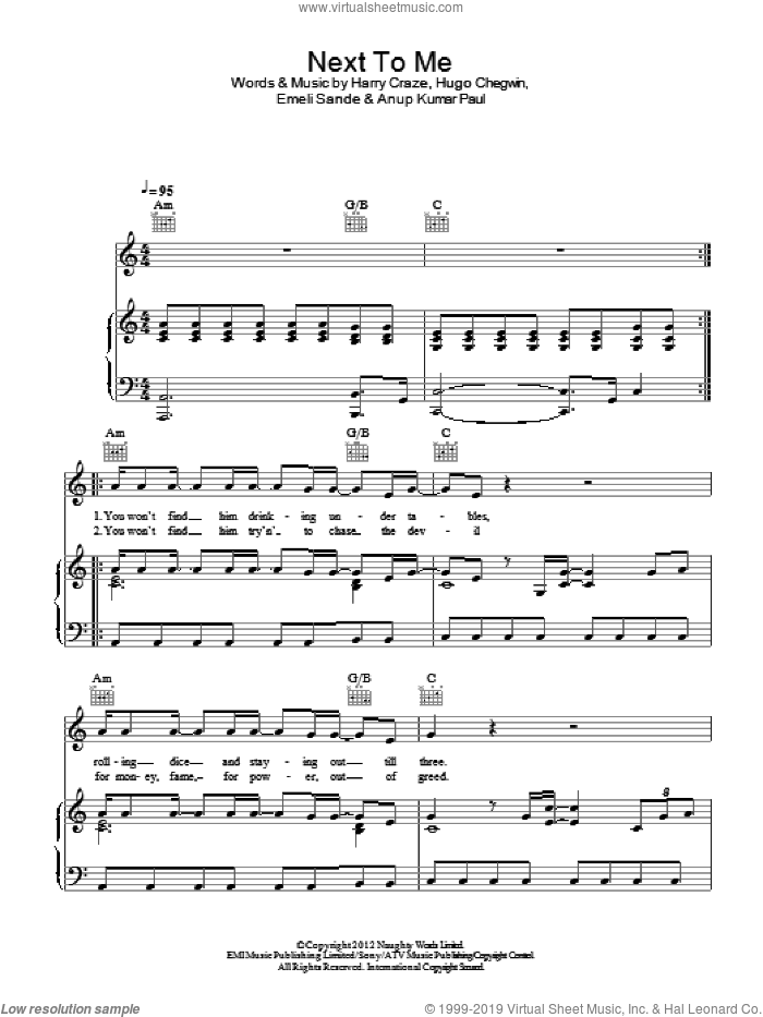 Next To Me sheet music for voice, piano or guitar by Emeli Sande. Score Image Preview.