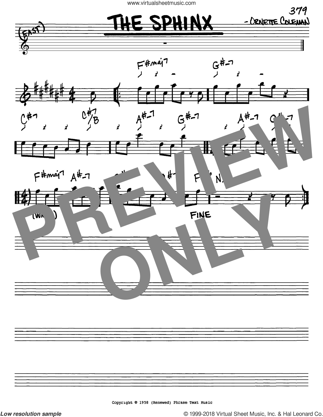 The Sphinx sheet music for voice and other instruments (Eb) by Ornette Coleman