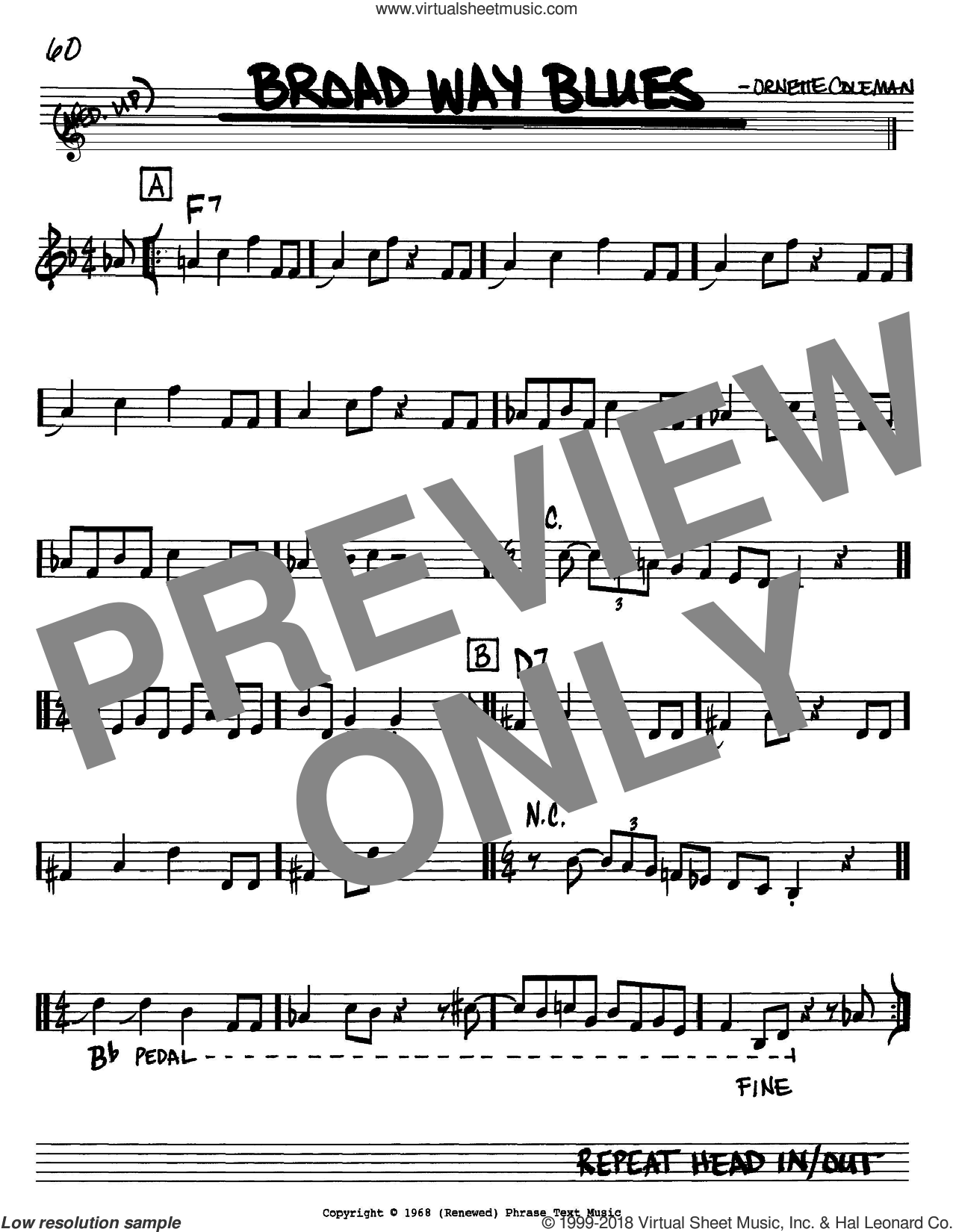 Broad Way Blues sheet music for voice and other instruments (in Bb) by Ornette Coleman, intermediate. Score Image Preview.