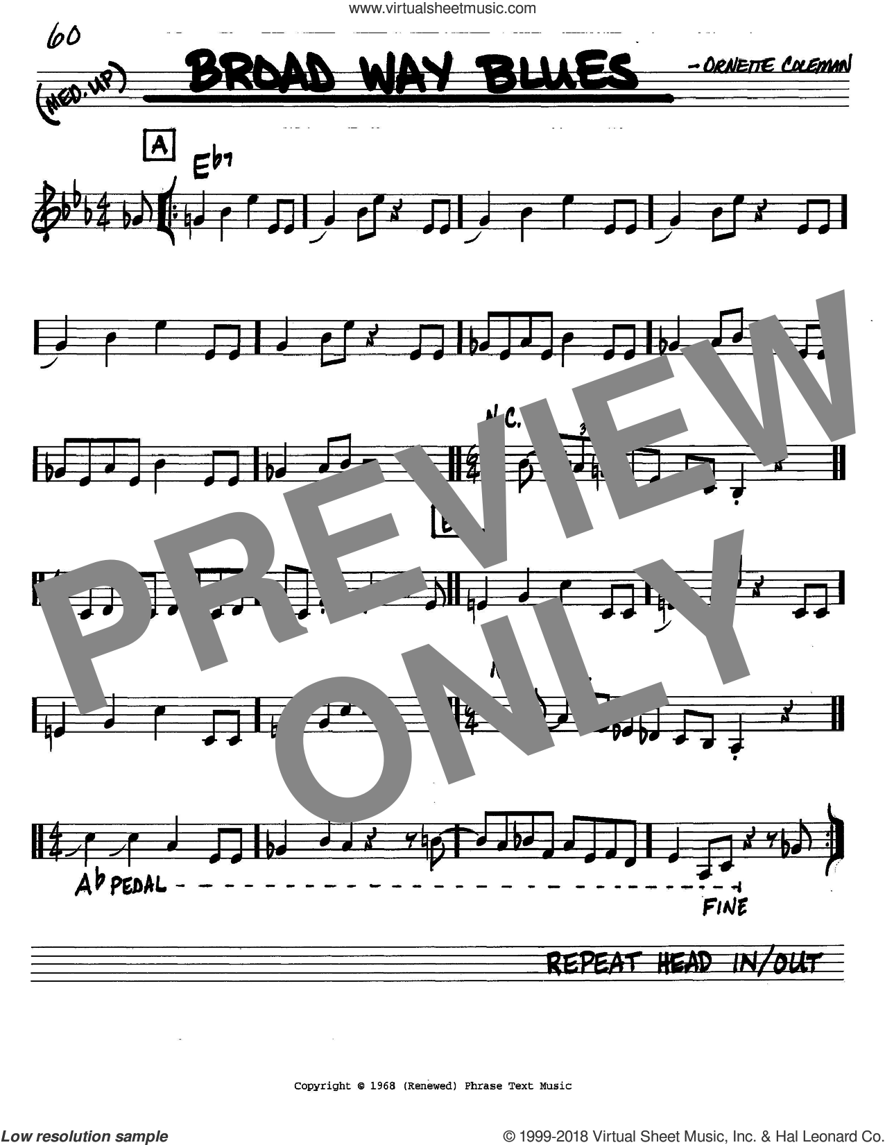 Broad Way Blues sheet music for voice and other instruments (C) by Ornette Coleman. Score Image Preview.