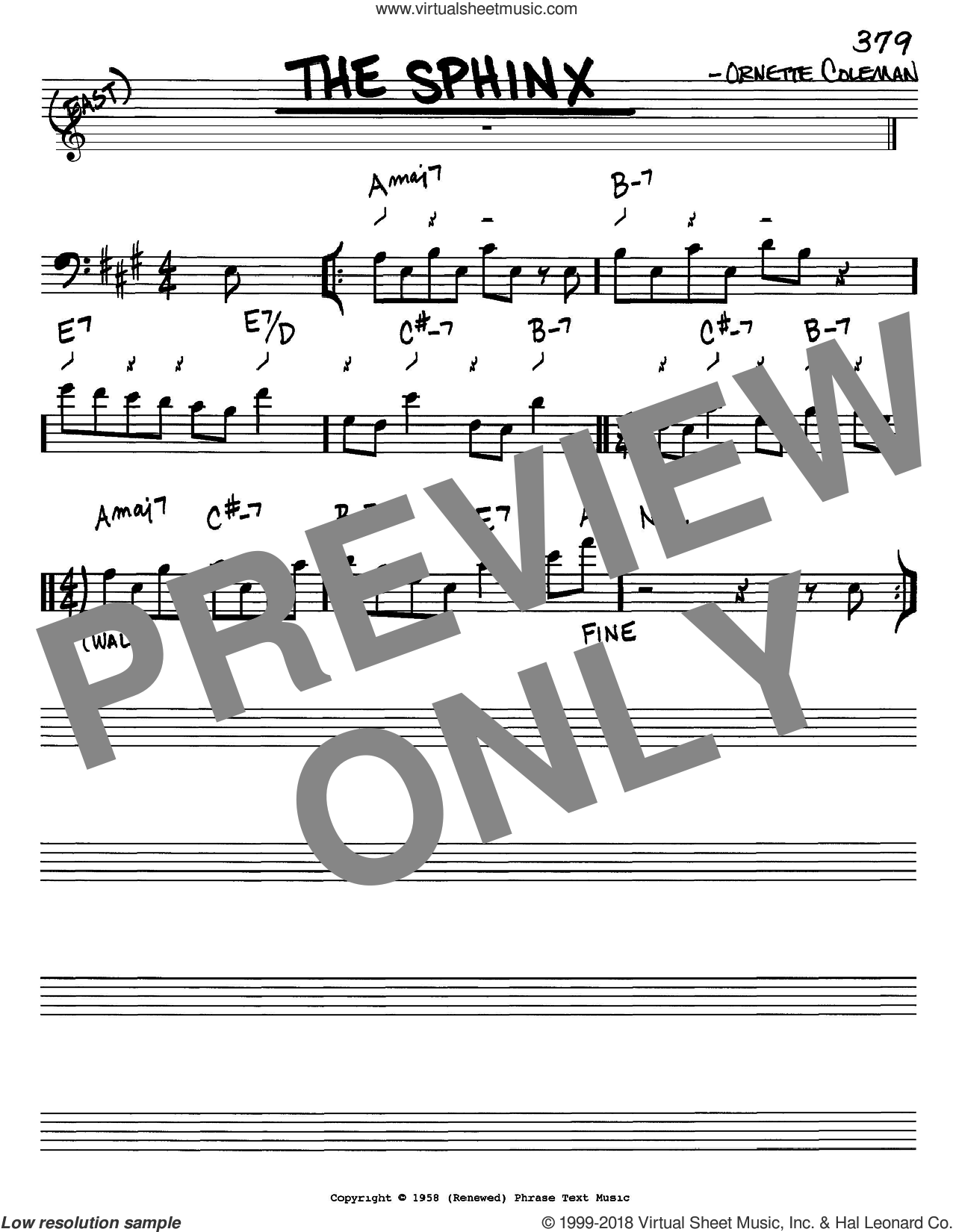 The Sphinx sheet music for voice and other instruments (bass clef) by Ornette Coleman, intermediate. Score Image Preview.