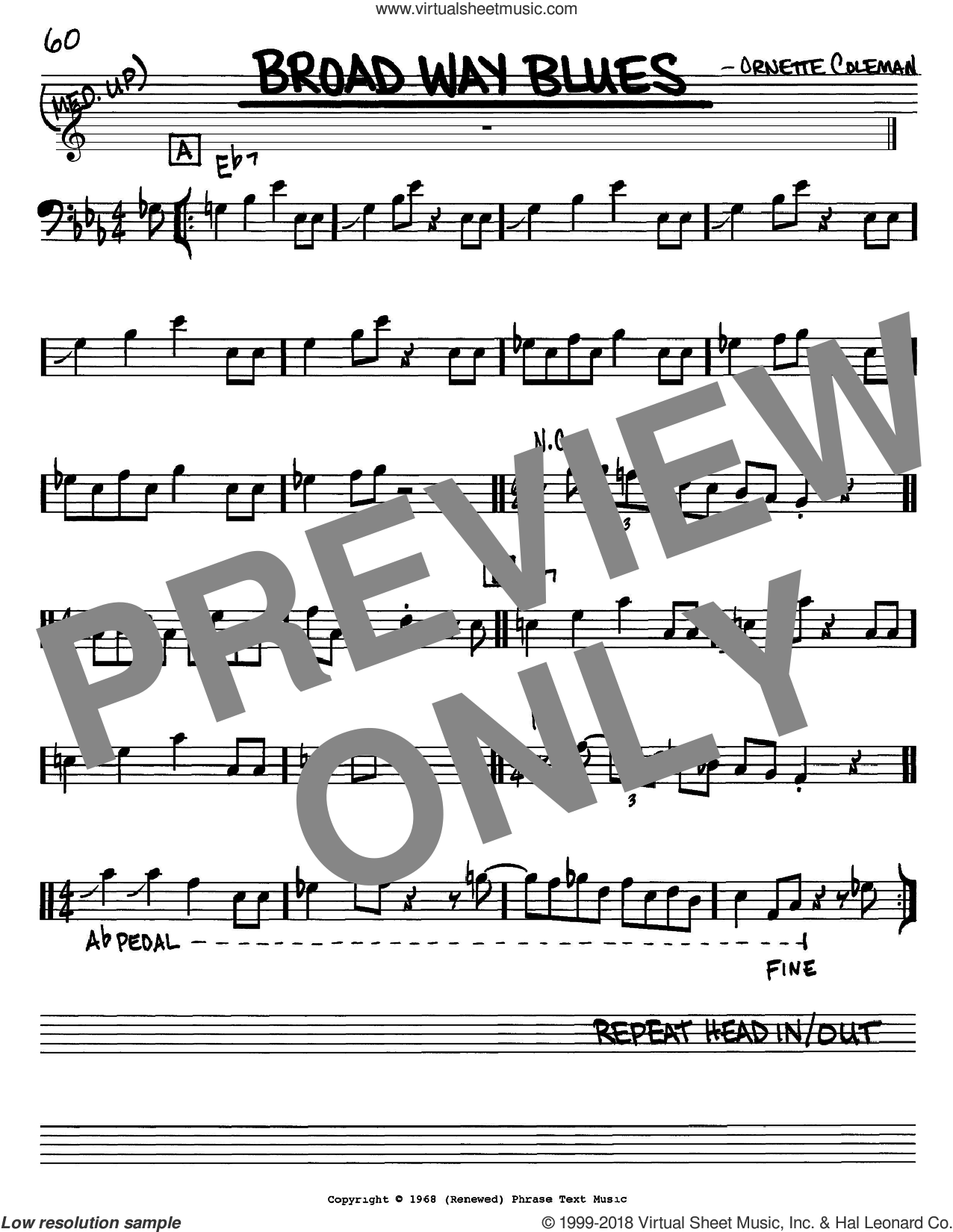 Broad Way Blues sheet music for voice and other instruments (Bass Clef ) by Ornette Coleman. Score Image Preview.