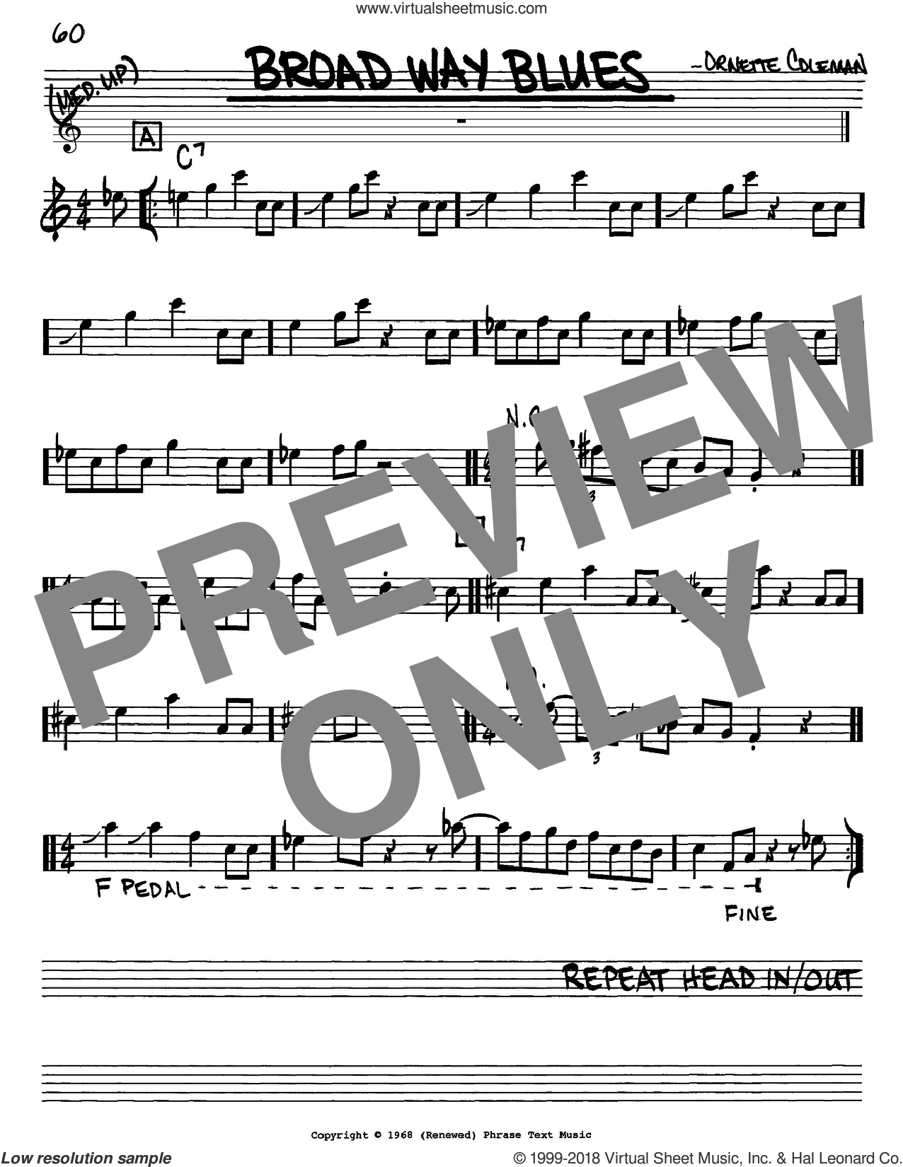 Broad Way Blues sheet music for voice and other instruments (Eb) by Ornette Coleman. Score Image Preview.