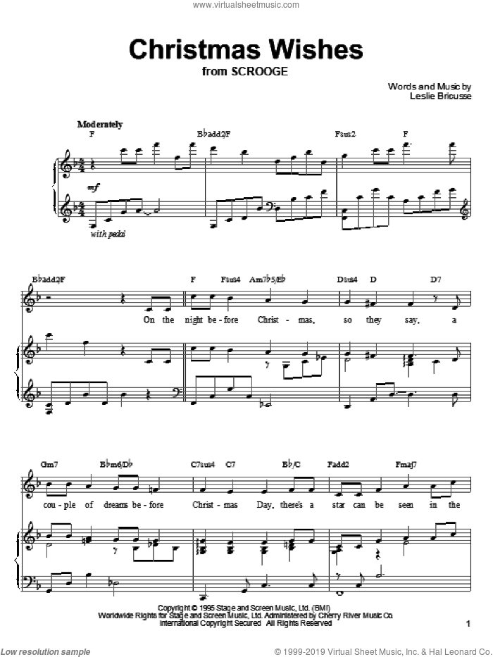 Christmas Wishes sheet music for voice, piano or guitar by Leslie Bricusse. Score Image Preview.