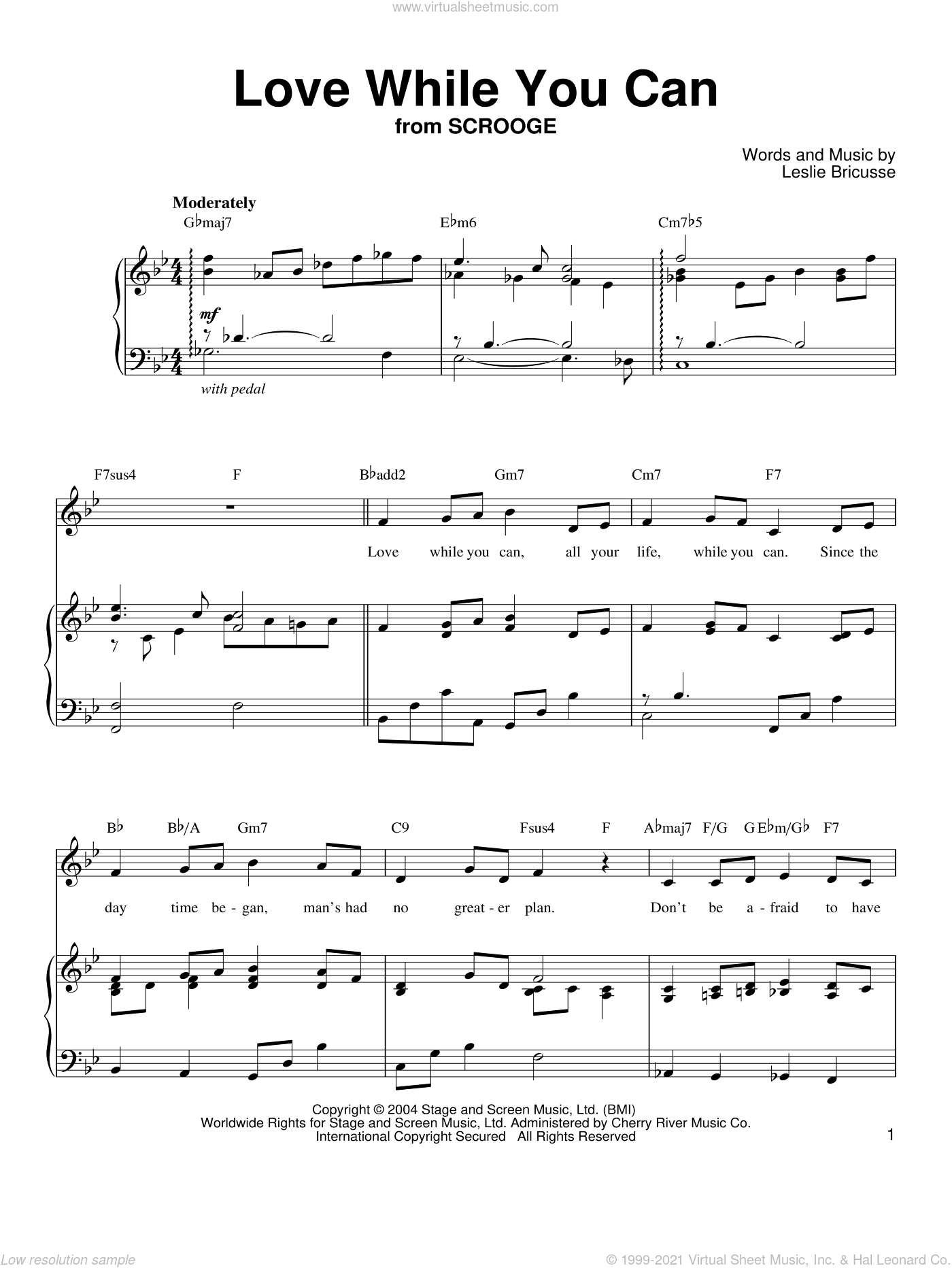 Love While You Can sheet music for voice, piano or guitar by Leslie Bricusse
