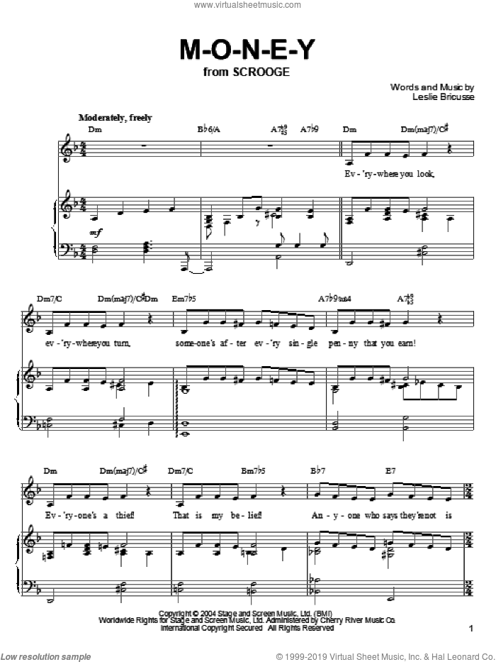 M-O-N-E-Y sheet music for voice, piano or guitar by Leslie Bricusse